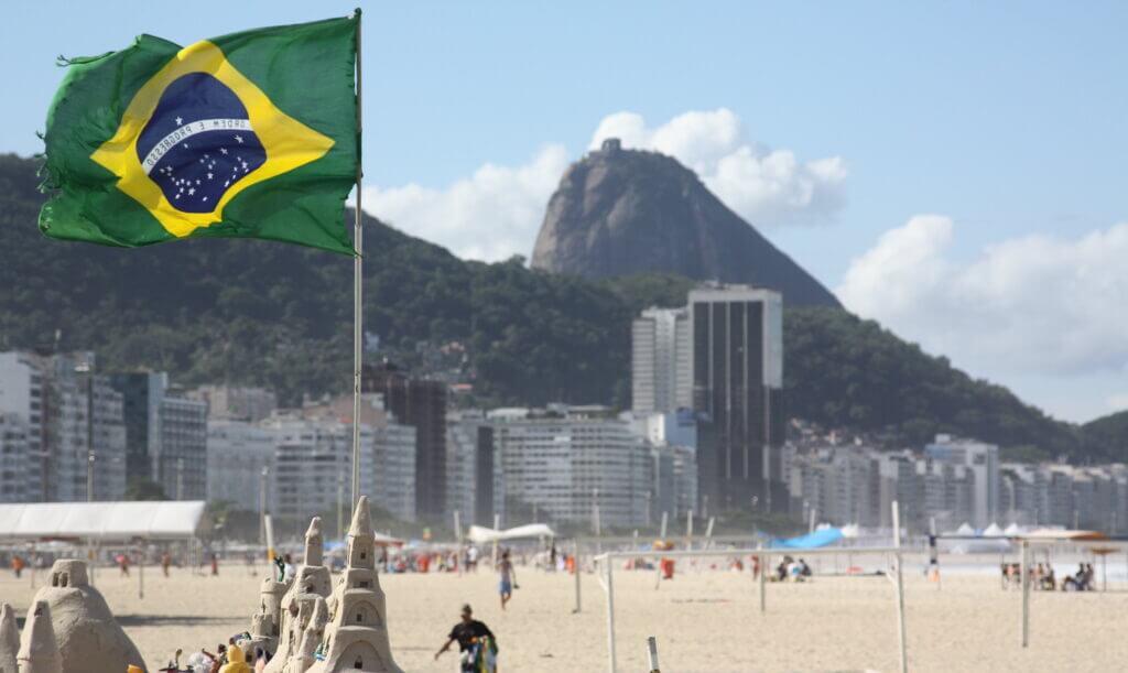 Brazilian flag flying in Copacabana beach