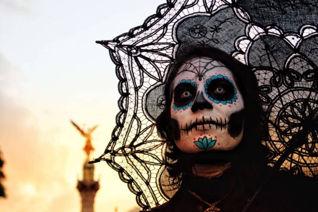 Ghastly makeup during Day of the Dead