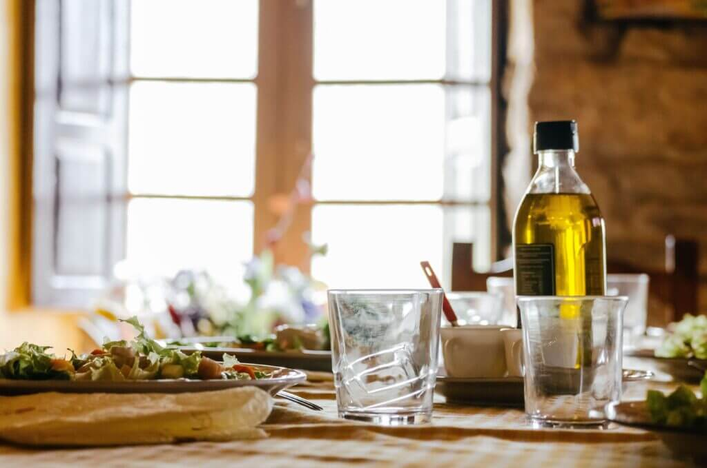An Italian meal with olive oil
