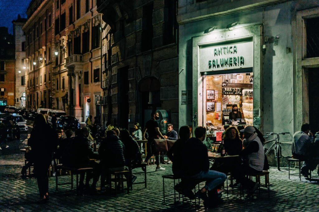 Eating outside an Italian Salumeria