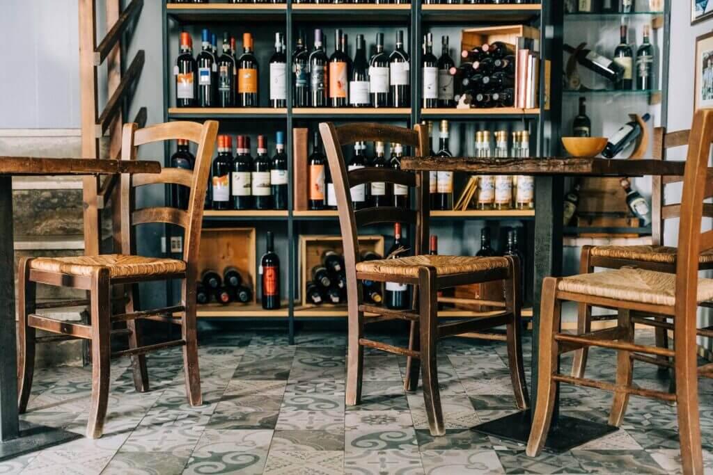 An Italian wine bar with lots of wine bottles