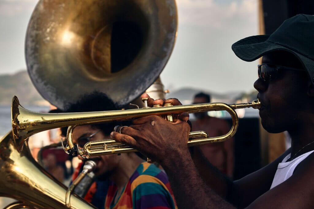 man playing a trumpet