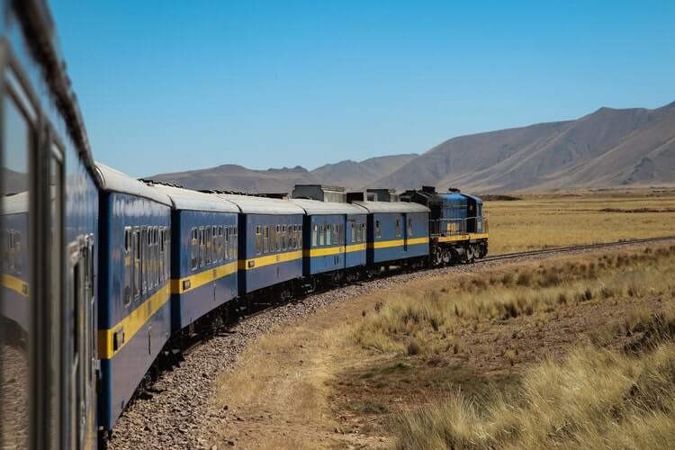 train rolling away on railtracks
