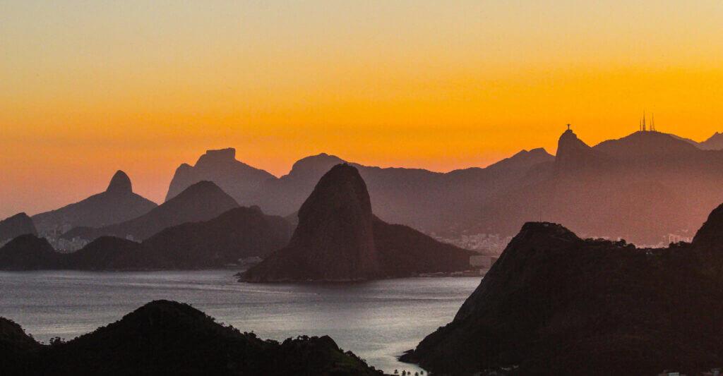 mountains of rio de janeiro in the sunset