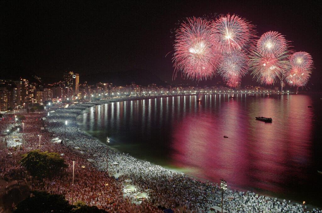 fireworks at copacabana beach in rio de janeiro
