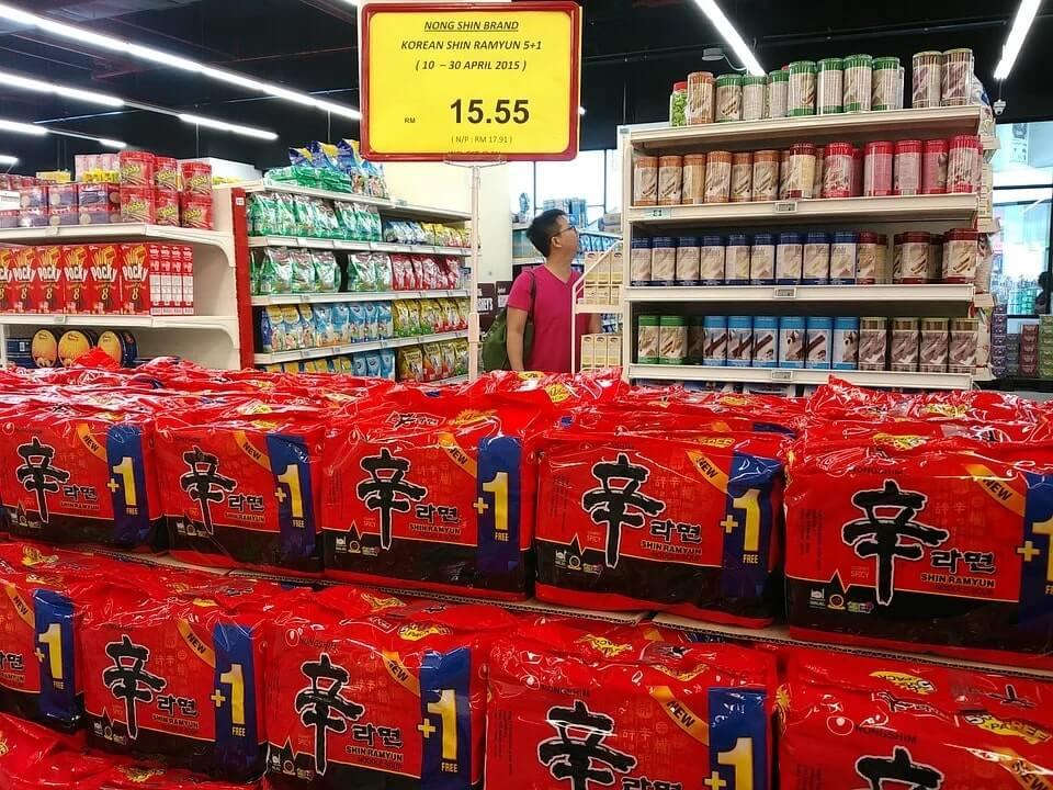 packets of korean shin ramyun noodles