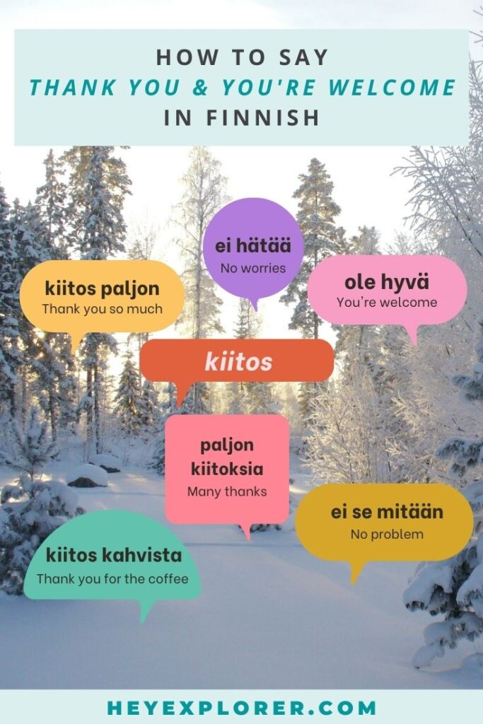 thank you in Finnish