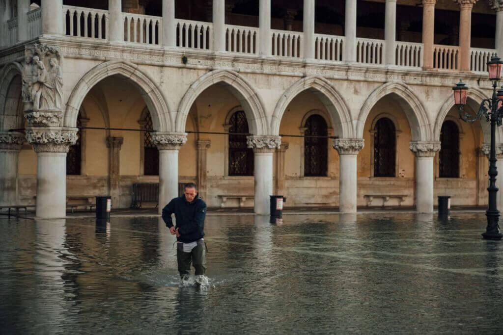 Acqua alta or flooding in Venice