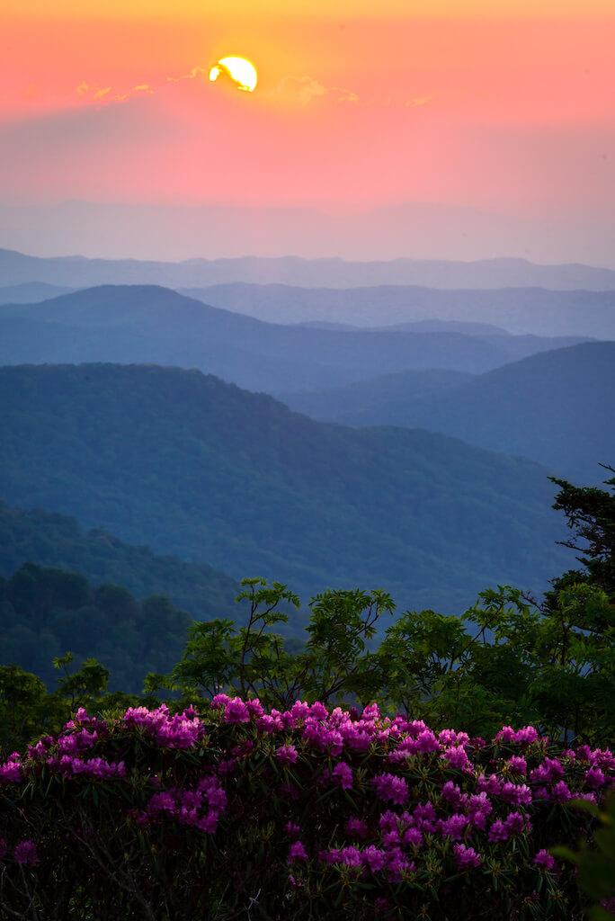 A stunning view of the Blue Ridge Mountains in North Carolina at sunset