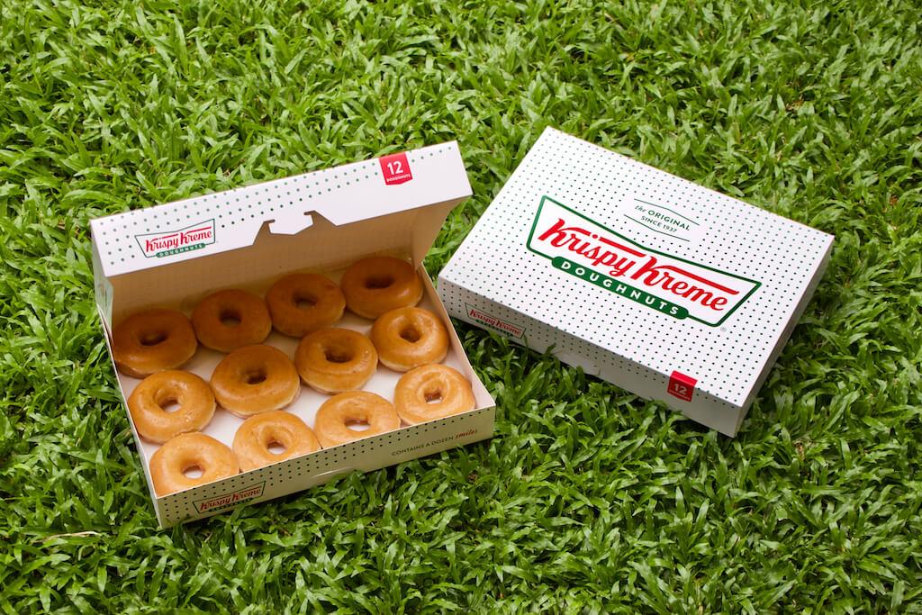 A box of Krispy Kreme donuts