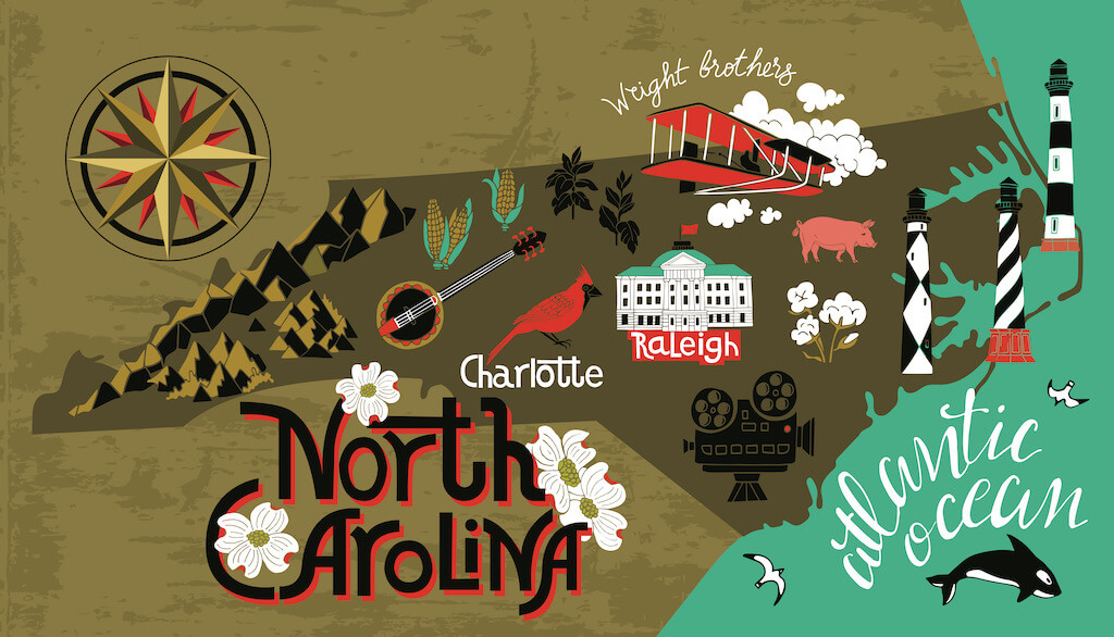 Illustrated image of the state of North Carolina with notable landmarks