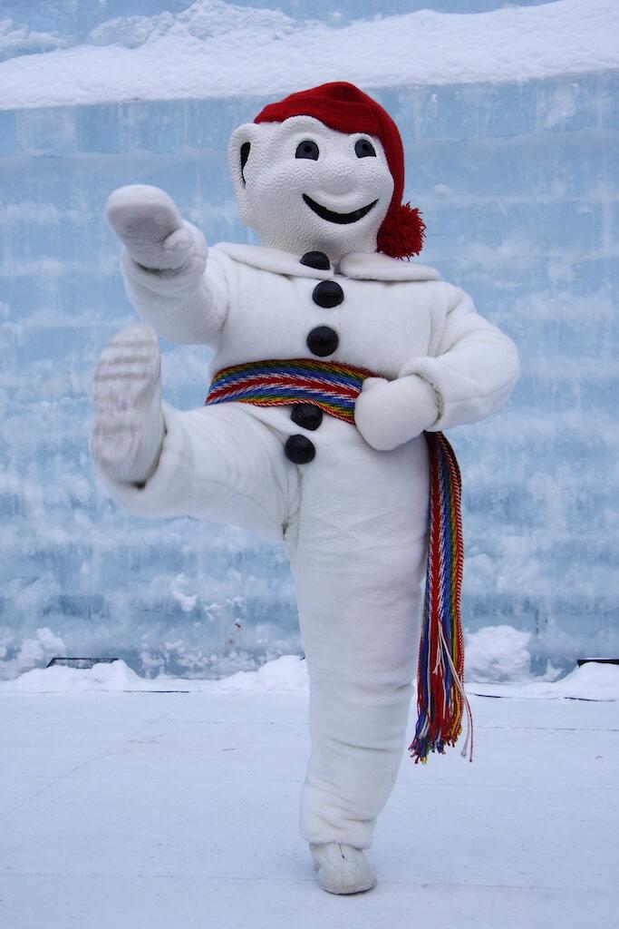 Bonhomme mascot in the Quebec winter festival
