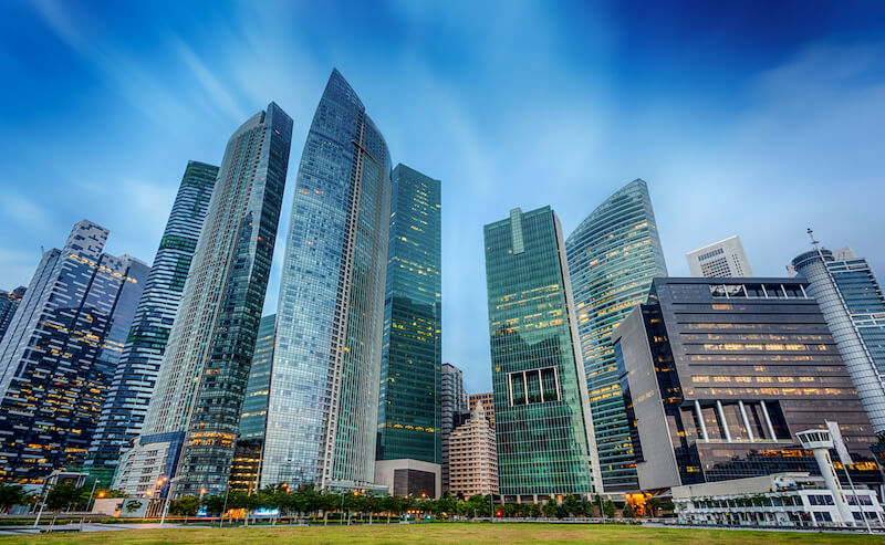 Business district in Singapore